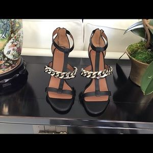 Givenchy Shoes - GIVENCHY Black Leather Chain Sandals 80mm SZ 41